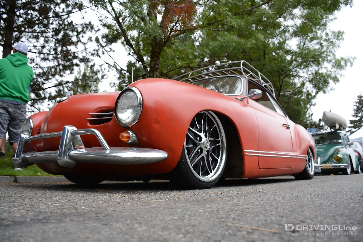 The low and steady Karmann Ghia is done up nostalgia style with a flat  brick red paint, super slammed stance, and modern alloy wheels wrapped by  low-profile ...